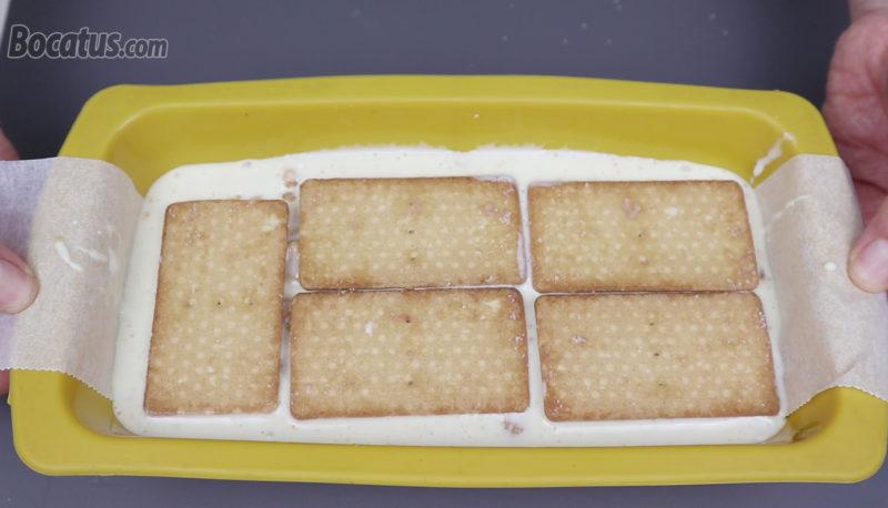 Tarta de galletas antes de reposar