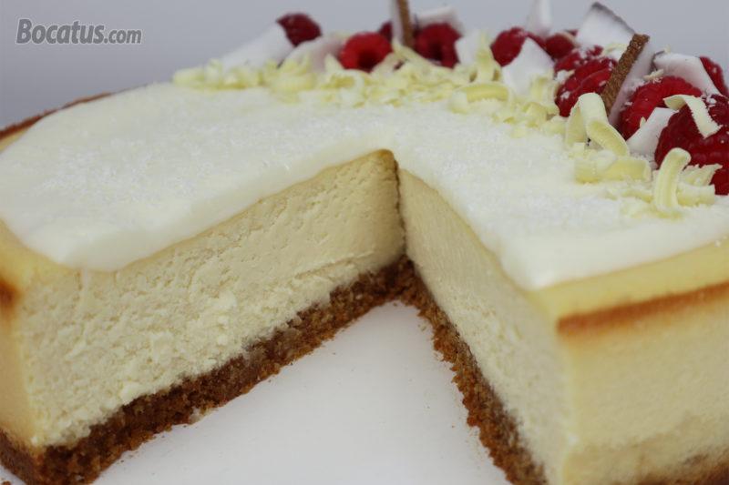Cheesecake de chocolate blanco y coco