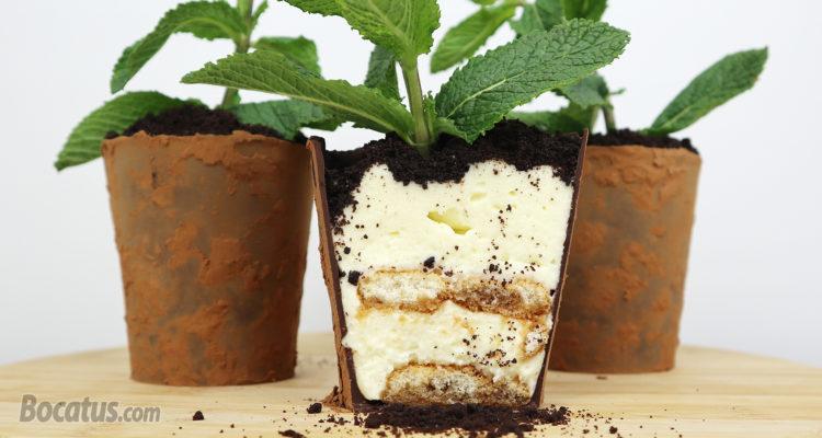 Macetas de Chocolate rellenas de Tiramisú