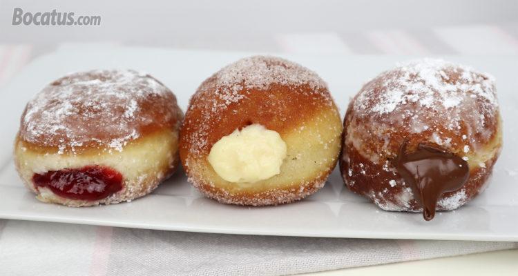 ¡Donuts Rellenos! con 3 rellenos diferentes: Crema, Fresa y Nutella