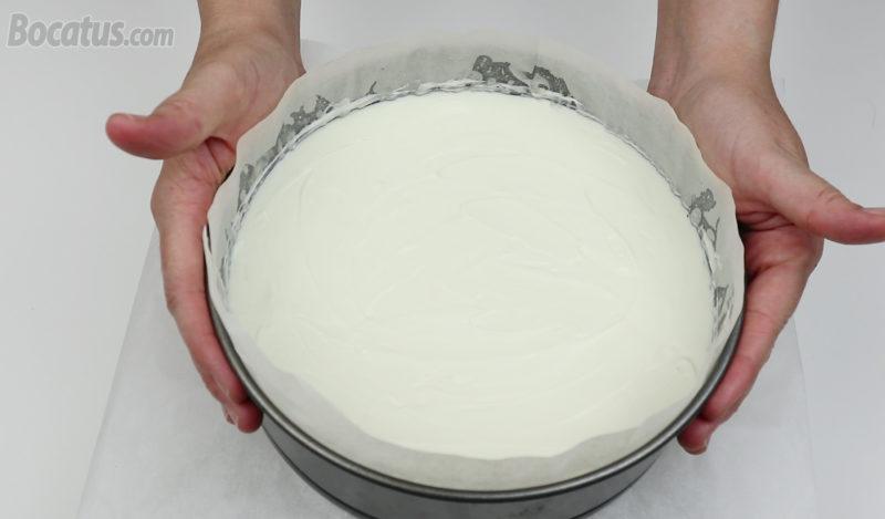 Tarta de queso lista para reposar
